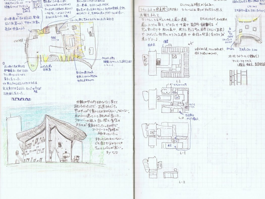 【WJD-建築スケッチ01】フィンランド・フランス編「アアルト・コルビュジエの建築たち」