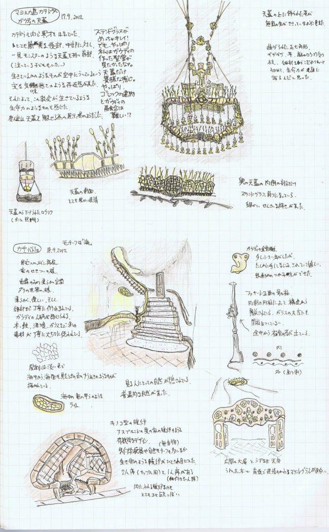 【WJD-建築スケッチ03】バルセロナ編「ガウディとミースの建築たち」
