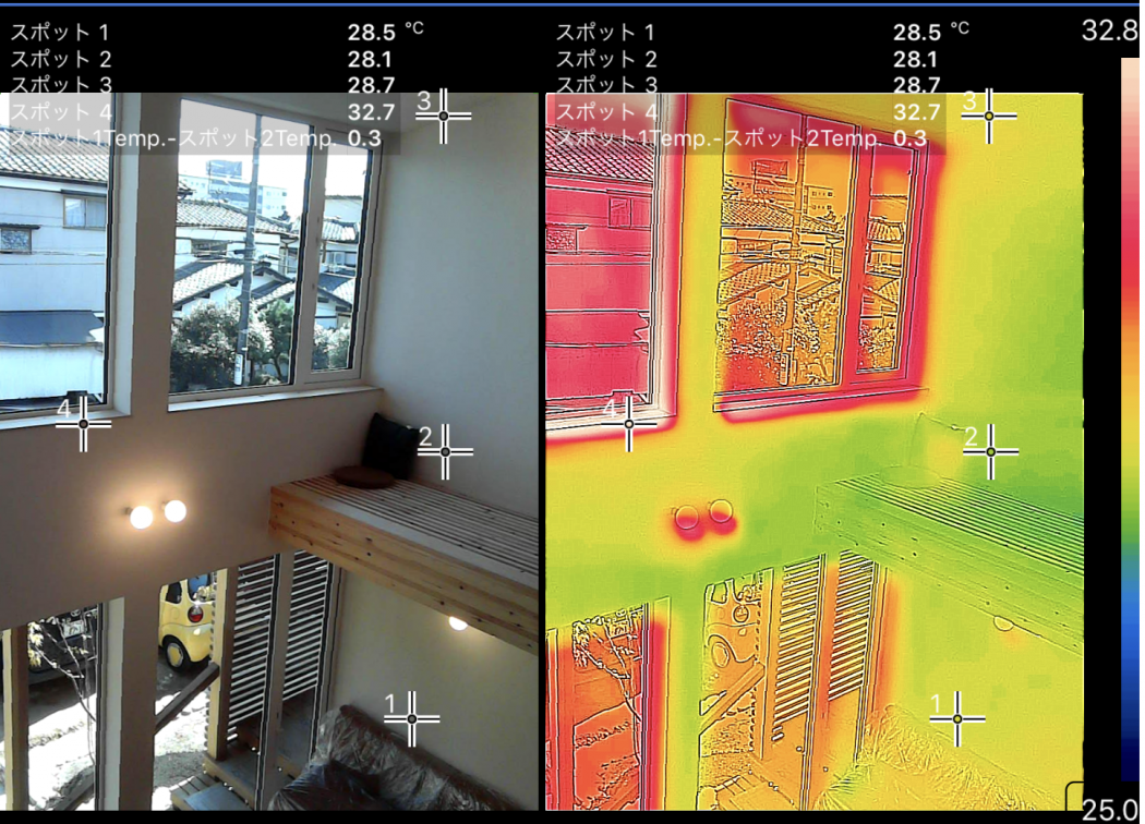 【秘訣】真夏の超高断熱「サーモ計測」①温度差のない空間と空調換気設計。