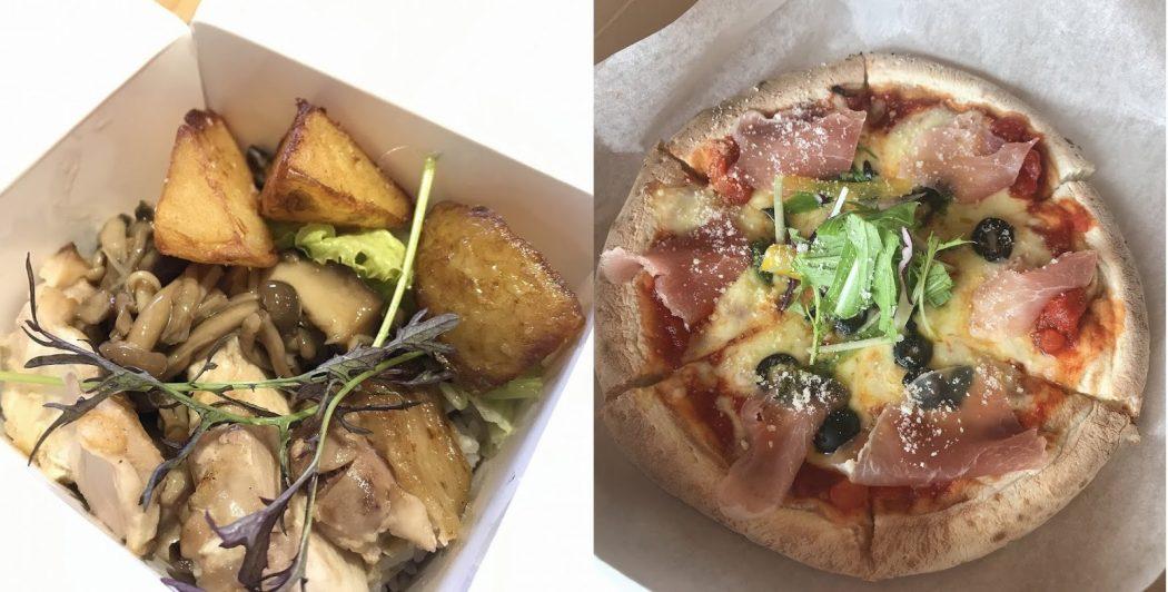 【エール飯!】0256さん:ローストチキンライスBOX。海カフェドナさん:モチモチ生ハムピザ。『大切な人、店、味を守りたい。』