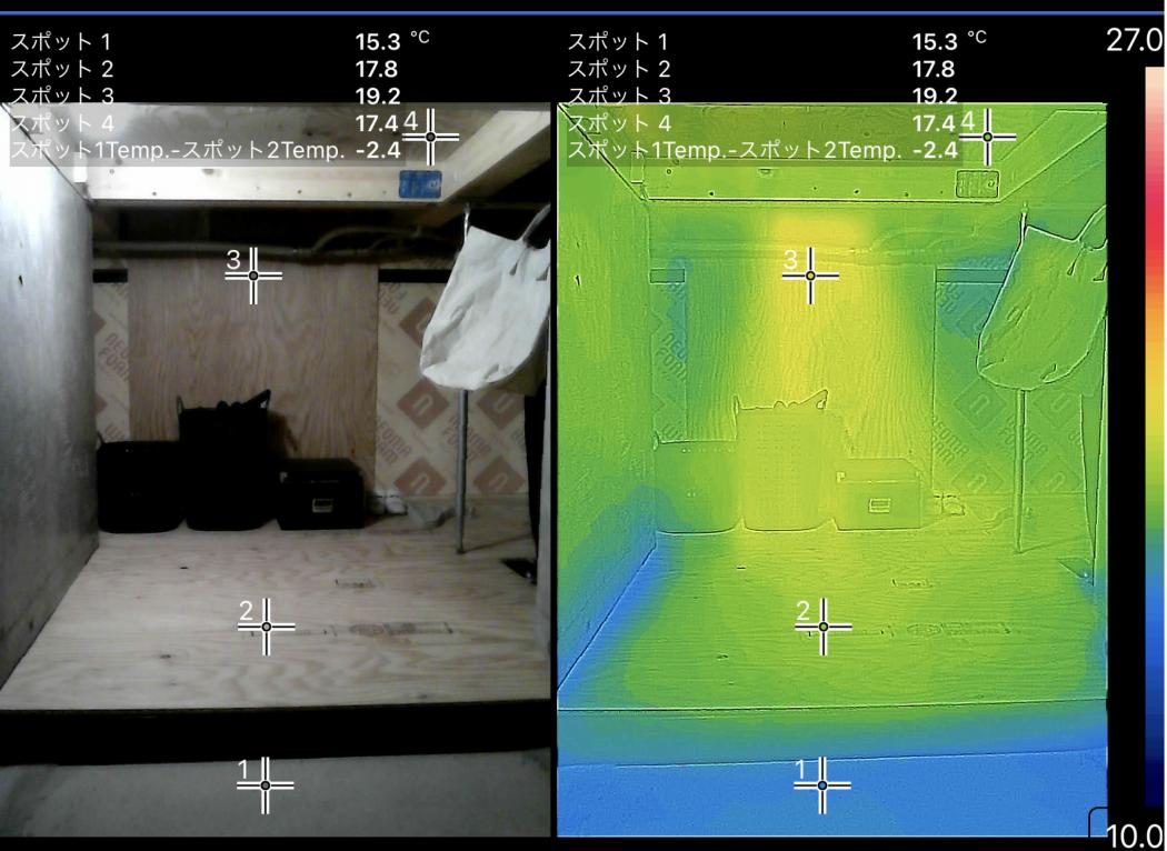 【サーモ】真冬の超高断熱「2階リビング『床下ファン冷暖』による暖房ロス低減効果。」case.地蔵のエスネル